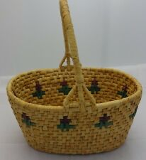 "BEAUTIFUL WOVEN BASKET 10"" LONG, 7"" WIDE, 11"" TALL INCLUDING HANDLE FANTASTIC!"