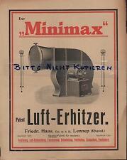 LENNEP, Prospekt um 1910, F. Haas GmbH Spezial-Maschinen-Fabrik Minimax Feuer