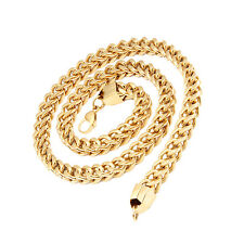 MENDINO Men's Stainless Steel Necklace Twist Wheat Curb Link Chain Gold 8mm 24""