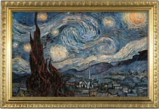 Starry Night Poster with Gilded Faux Frame Border Poster Print, 19x13