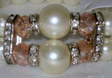 DOUBLE ROW PEARL STRETCH BRACELET with YOUR CHOICE OF CRYSTAL ACCENT STONES