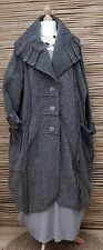 LAGENLOOK*OVERSIZE WOOL MIX BEAUTIFUL BALLOON 2 POCKETS LONG COAT*GREY* XXL-XXXL