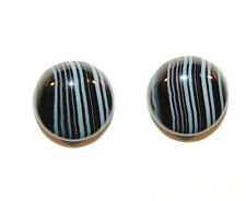 Black and White Agate 12mm Cabochons Set of 2 (9405)