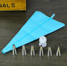 Hot Piping Cream Pastry Bag + 6x Stainless Steel Nozzle Set Cake Decorating Tool