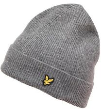 Mens Lyle and Scott Ribbed Knitted Beanie Hat Designer 100% Genuine Grey RRP £45