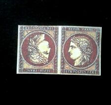 France 1949 Tete Beche 1 F Ceres Vermilion Pale, Replica