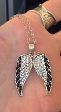 ANGEL WINGS WITH BLACK & CLEAR RHINESTONES PENDANT & NECKLACE