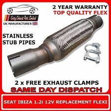 Seat Ibiza 1.2i 2005-2009 Clamp On Replacement Exhaust Flex Flexi For Front Pipe