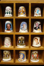 SET12 ROYAL COMMEMORATIVE QUEEN ELIZABETH II DIANA THIMBLE COLLECTION CAVERSWALL