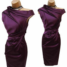 Karen Millen Purple Signature Stretch Satin Pleat Colour Block Wiggle Dress 10UK