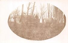 2 HORSES~WAGON~MEN FIGHTING WITH CHAIR AND STICK REAL PHOTO POSTCARD 1910s
