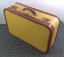 Solid Vintage US TRUNK Tweed Straw Suitcase w/Leather Trim Small Case 21*14*7