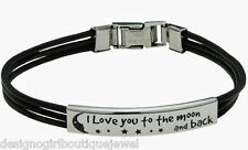 """I Love You to The Moon and Back"" Bracelet Stainless Steel Leather Silver Unisex"