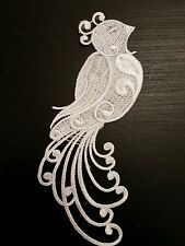 White embroidery Peacock patch lace applique irish dance dress costume