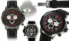 NEW Paul Perret 14066 Mens Voltaire Series Swiss Chronograph Black Leather Watch