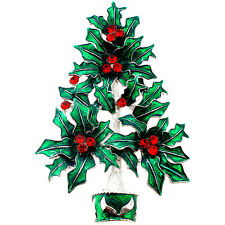 Fantasyard Crystal Red Holly Berry Green Christmas Tree Pin Brooch