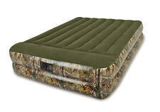 Intex Real Tree Queen Pillow Rest Camo Air Bed Camping Inflatable Mattress