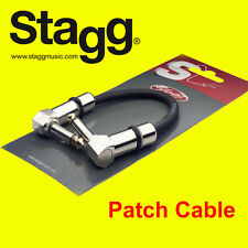 Stagg SPC010LDL Short Audio Patch Cable 10cm 6.3mm Right Angle Connectors Black