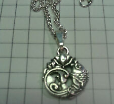 "TIBETAN SILVER PENDANT ""CARP AND LOTUS FLOWER"" ON NECKLACE  18"" or20"""