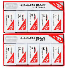 100 DORCO ST301 Platinum Stainless Double Edge Safety Razor Blades (2 pack)