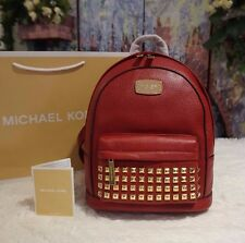 NWT MICHAEL KORS Jet Set Item XS Gold-Tone STUDDED Backpack Leather CHERRY $328