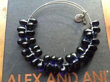 RARE ALEX and ANI MONTANA Blue JUPITER Crystal Silver BEADED Bangle BRACELET ��