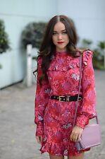 ZARA jacquard mini mûrier rouge robe soie taille l bloggers