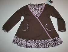 New Rabbit Moon Brown Lavender Leopard Print Ruffle Tunic Top  Size 4 Yr 4T NWT