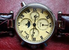 STAUER Graves 33 Automatic Multi Function Dial Watch On Burgundy Leather 13372