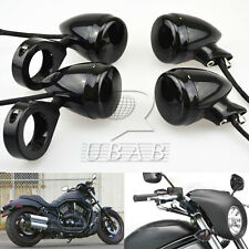4pcs Motorcycle 41mm Clamp Front Rear LED Turn Signal Light Smoke Len For Harley