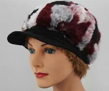 CHEMO CAP HAT Maroon Black White NEWSBOY Faux Fur Cancer Headcover Turban Scarf