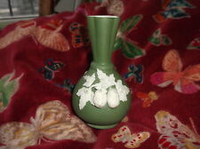 SMALL ANTIQUE SAGE GREEN BISQUE VASE RAISED FRUIT ROBINSON LEADBEATER MARITANA