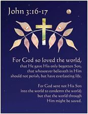 SMALL John 3:16, For God So Loved - Art Print Poster - Christian Bible Scripture