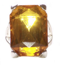 Magnificent & Grandeur - Majestic Amber Gem & Signet Styled Chrome Ring(Zx124)