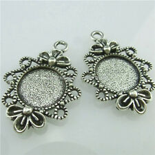 15016 15PCS Alloy Silver 12mm Frame Base Tray Holder Setting Pendant For Cameo
