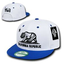 White & Royal Blue California Republic Bear Flat Bill Snapback Snap Back Cap Hat