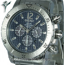 Seiko Solar Sports Blue Dial Chrono With Stainless Steel Bracelet SSC221P1