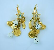 Kirks Folly Casino Good Luck Gambling Dangling Earrings  Dice coins star money