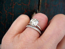 1.40 Ct. Natural Round Cut Pave Diamond Bridal Set - GIA Certified & Appraised