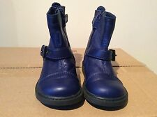 Kids Girls Blue Moschino Leather Boots Eu Size 20 Uk Size 4 Rrp £155