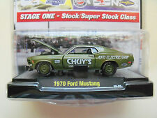 """M2 MACHINES """"AUTO-DRAGS""""  E / STOCK 1970 FORD MUSTANG (GREEN) 1/64 DIECAST MODEL"""