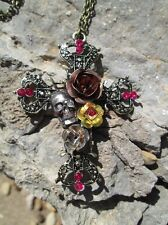 "Gothic Skull Rose Crystal Cross Pendant Gold 28"" Long Chain Necklace Mixed Tone"