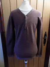 STYLISH MENS MONSOON GREY/RED/WHITE STRIPED MEDIUM KNIT JUMPER SIZE S