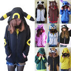 NEW Pokemon Cosplay Anime Costume Ears Tail Zip Coat Sweatshirt Hoodie Jacket