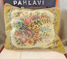 Pillow Cushion Antique Vintage Hand Embroidered Wool Victorian Embroidery 19thC