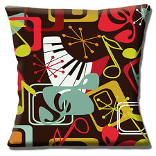 "VINTAGE RETRO 50'S STYLE MUSIC NOTES PIANO KEYS MULTI 16"" Pillow Cushion Cover"