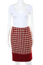 Moschino Cheap & Chic Red Beige Wool Knit Pencil Skirt Size 8