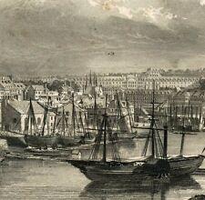 Gravure XIXe Vue du Port de Brest Bretagne Ancienne et Moderne Zone Portuaire