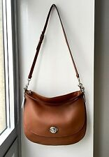 NWT Coach Saddle Polish Pebble Leather TURNLOCK HOBO Front Flap Saddle Bag $350