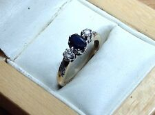 Excellent 9Ct Gold Diamond And Sapphire Ring, Hallmarked 1990 - Size K